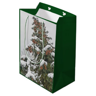 BLUE SPRUCE WITH SNOW AND PINE CONES MEDIUM GIFT BAG