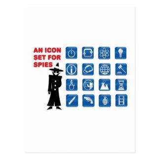 Blue spy icons postcard