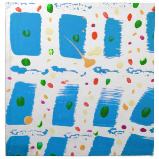 Blue Square Abstract Cloth Napkin
