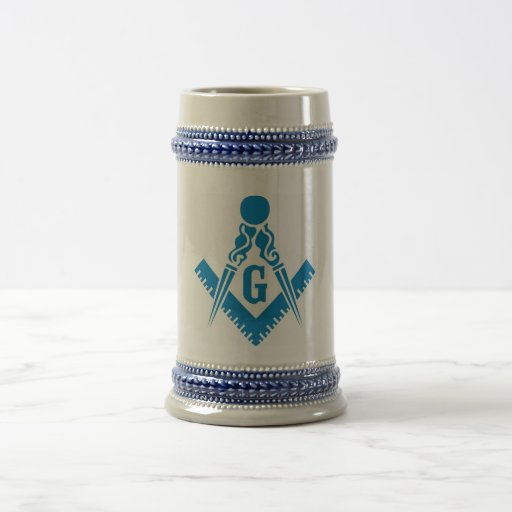 Blue Square and Compass Stein 18 Oz Beer Stein