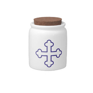 blue square apostles cross or budded cross candy jar
