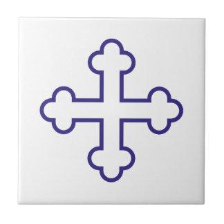 blue square apostles cross or budded cross ceramic tiles
