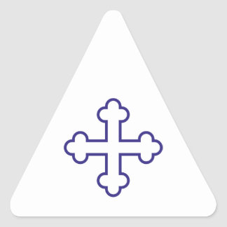 blue square apostles cross or budded cross triangle sticker