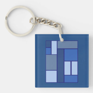 Blue Square Geometric - Emotion Form and Color Keychain