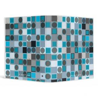 Blue Square Grey Dot Retro Binder binder