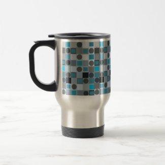 Blue Square & Grey Dot Travel Mug mug