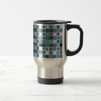 Blue Square & Grey Dot Travel Mug