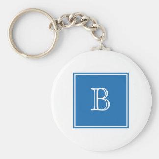 Blue Square Monogram Basic Keychain