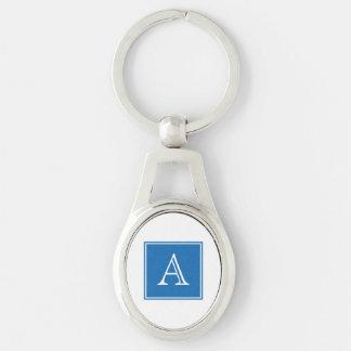 Blue Square Monogram Metal Keychain