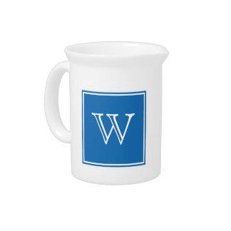 Blue Square Monogram Pitcher