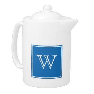 Blue Square Monogram Teapot
