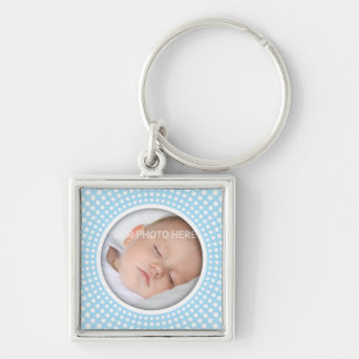Blue square photo frame with white dots keychain