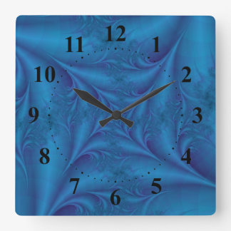 Blue Square Spiral  Wall Clock