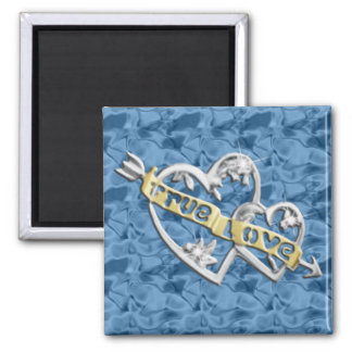 Blue Square True Love Joined Hearts Magnet
