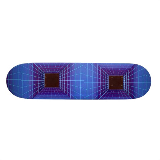Blue square tunnel grid skateboard