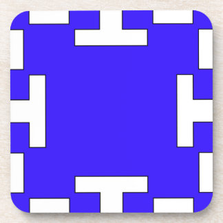Blue  squares and squares drink coaster