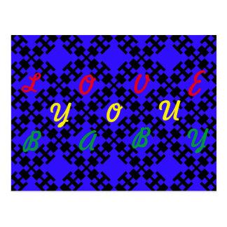 Blue  squares and squares postcard