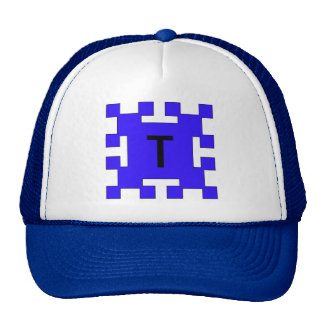 Blue  squares and squares trucker hat