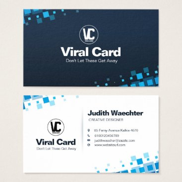 """Professional Business Blue Squares Business Card Standard, 3.5"""" x 2.0"""""""