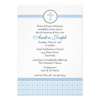Blue Squares Cross Invitation