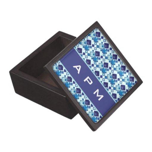Blue Squares Geometric Pattern Monogram Premium Keepsake Boxes