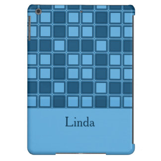 Blue squares mosaic pattern, add text cover for iPad air