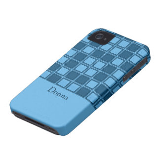 Blue squares mosaic pattern, add text iPhone 4 Case-Mate cases