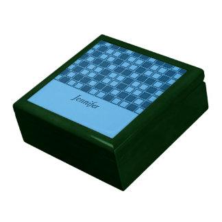 Blue squares mosaic pattern, add text trinket boxes