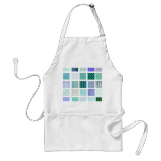 Blue squares mosaic pattern adult apron