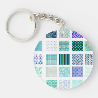 Blue squares mosaic pattern keychain