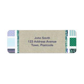 Blue squares mosaic pattern return address label