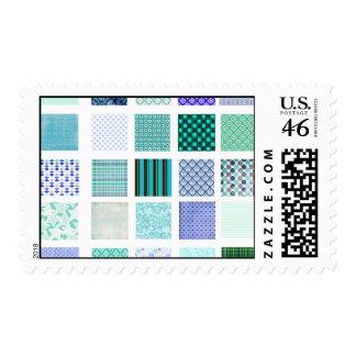 Blue squares mosaic pattern postage stamp