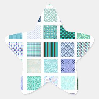 Blue squares mosaic pattern star sticker