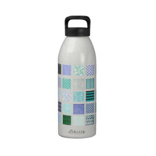Blue squares mosaic pattern drinking bottle