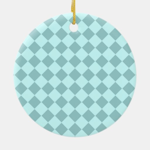 Blue Squares Pattern Christmas Ornaments