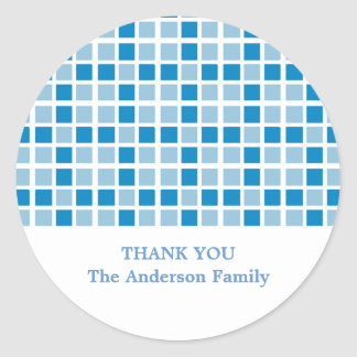 Blue Squares Pattern Classic Round Sticker