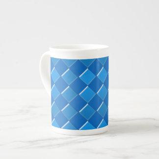Blue squares pattern print tea cup