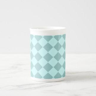 Blue Squares Pattern Porcelain Mugs