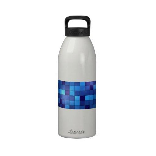 Blue Squares Reusable Water Bottles