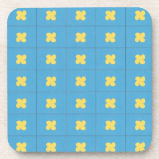Blue squares with yellow teardrop cork coasters