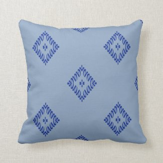 Blue Squiggle Diamond Design on Blue or Any Color Throw Pillow