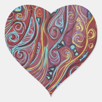Blue Squiggles Heart Sticker