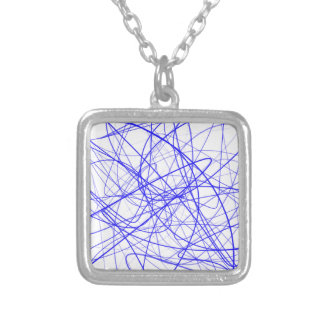 Blue Squiggles Silver Plated Necklace