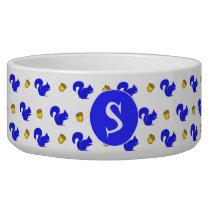 Blue Squirrels Monogrammed Pet Bowl