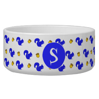 Blue Squirrels Monogrammed Pet Bowl