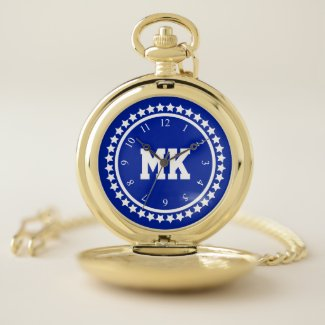 Blue SS Monogrammed Pocket Watch