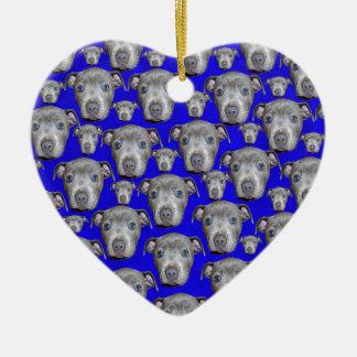 Blue Staffordshire Bull Terrier Pattern, Ceramic Ornament
