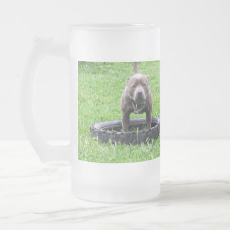 Blue Staffordshire Bull Terrier Tug Of War, Frosted Glass Beer Mug