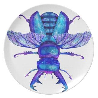 Blue Stag Beetle Melamine Plate