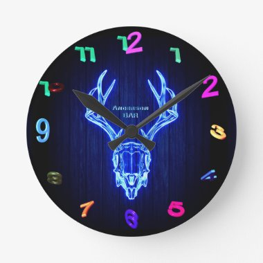 BLUE STAG SKULL Neon Light Style Personalized Wall Round Clock